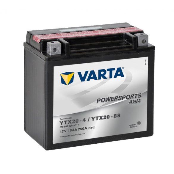 Varta Powersports AGM YTX20-BS 12 V 18 Ah bal +