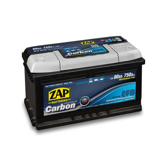 ZAP CARBON EFB 12 V 80 Ah 750 A jobb +