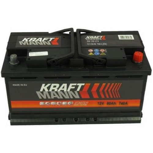 Kraftmann 12 V 80 Ah 740 A jobb +